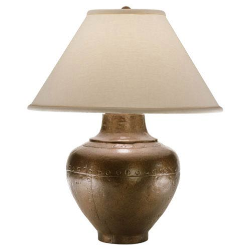 Foundry Copper One-Light Table Lamp with Natural Fabric Shade