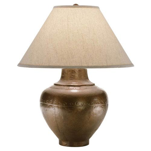 Foundry Copper One-Light Table Lamp with Brussels Linen Shade