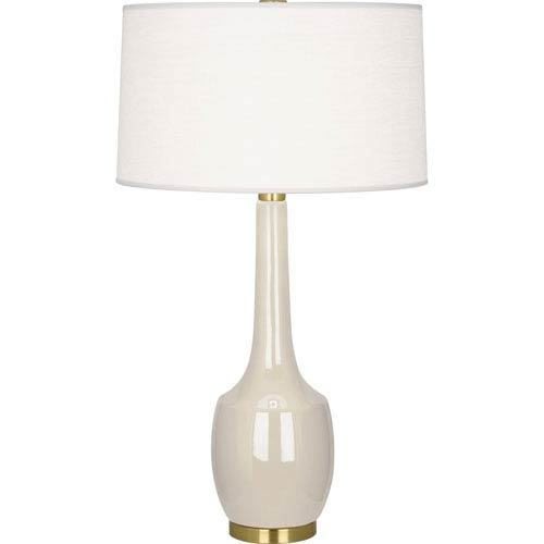 Delilah Tan and Antique Brass One-Light Ceramic Table Lamp