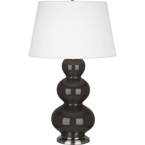Robert Abbey Triple Gourd Coffee and Antique Silver One-Light Ceramic Table Lamp
