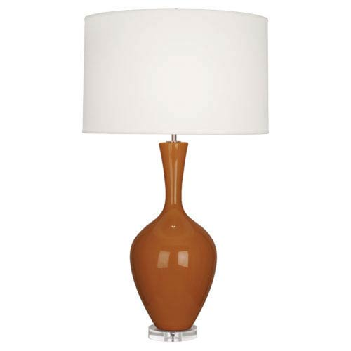 Audrey Polished Nickel and Cinnamon One-Light Table Lamp