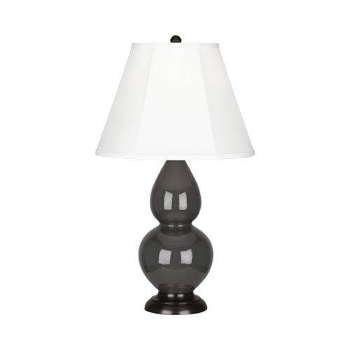 Small Double Gourd Charcoal and Bronze One-Light Lamp with Bell Shade