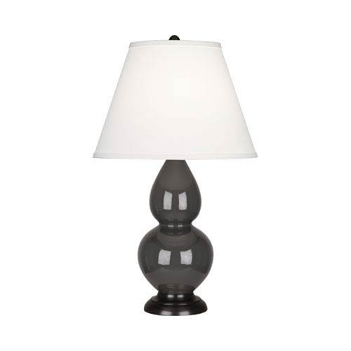 Small Double Gourd Charcoal and Bronze One-Light Lamp with Empire Shade
