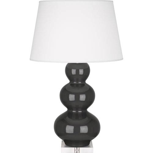 Triple Gourd Charcoal One-Light Ceramic Table Lamp