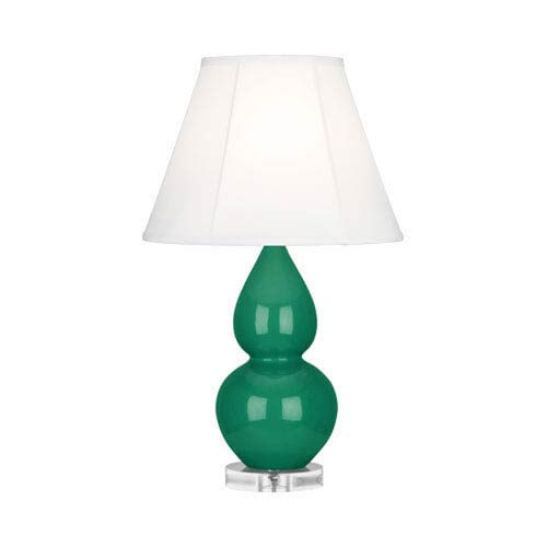 Small Double Gourd Emerald Green Ceramic One-Light Lamp with Bell Shade