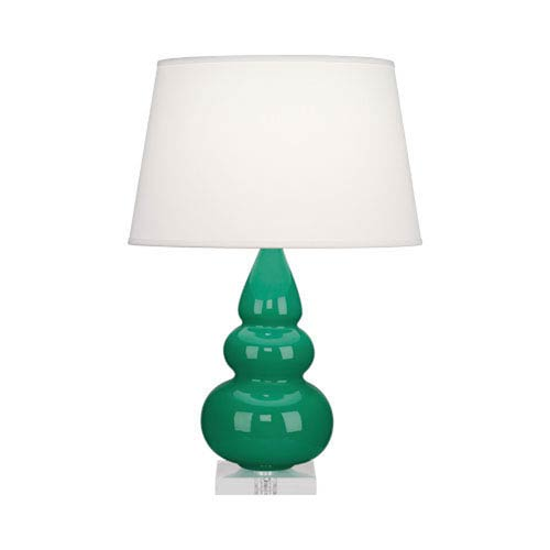 Small Triple Gourd Emerald Green Ceramic One-Light Table Lamp