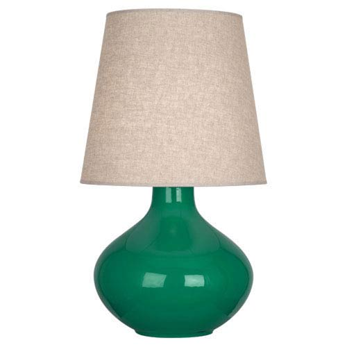 June Polished Nickel and Emerald Green One-Light Lamp with Buff Linen Shade