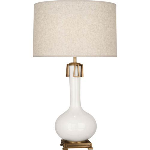 Robert Abbey Athe White and Aged Brass One-Light Ceramic Table Lamp