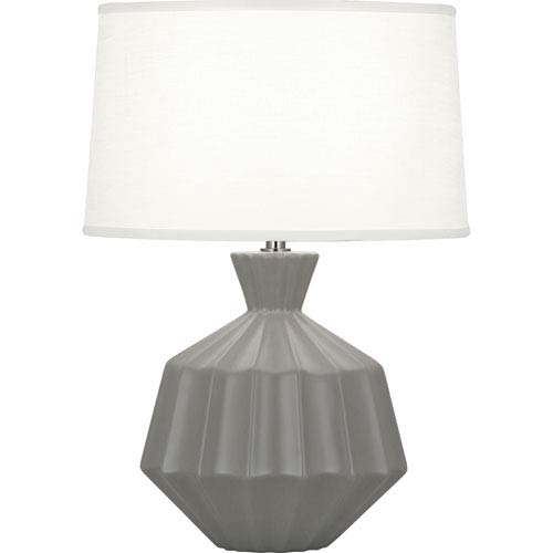 Orion Matte Smoky Taupe One-Light 17-Inch Ceramic Table Lamp