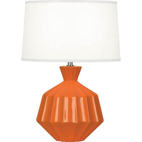 Orion Pumkin Orange One-Light 17-Inch Ceramic Table Lamp