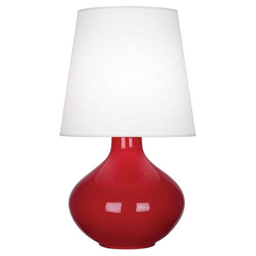 June Polished Nickel And Ruby Red One Light Lamp With Oyster Linen Shade
