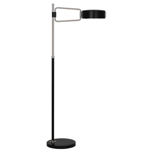 Simon Satin Black and Polished Nickel One-Light Floor Lamp