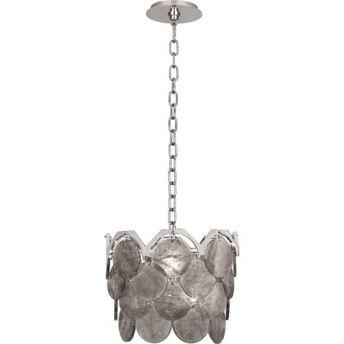 Hope Polished Nickel Four-Light Pendant with Smoky Rock Crystal