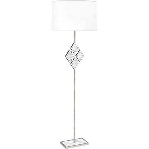 Robert Abbey Edward Polished Nickel One-Light 62-Inch White Marble Floor Lamp with White Shade