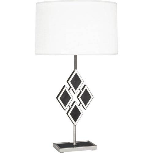 Robert Abbey Edward Polished Nickel One-Light 29-Inch Black Marble Table Lamp with White Shade