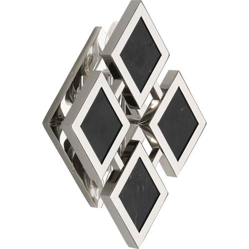 Robert Abbey Edward Polished Nickel Two-Light Black Marble Wall Sconce