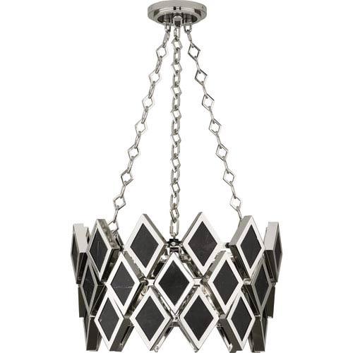 Robert Abbey Edward Polished Nickel Three-Light Black Marble Pendant
