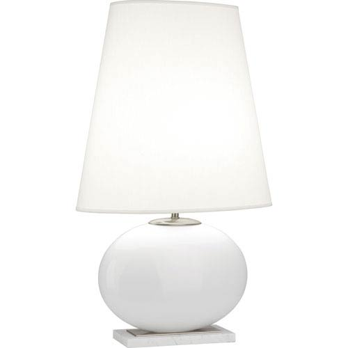 Robert Abbey Raquel White and Polished Nickel One-Light 29-Inch Table Lamp