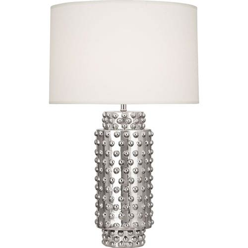 Robert Abbey Dolly Polished Nickel One-Light 27-Inch Table Lamp with White Shade