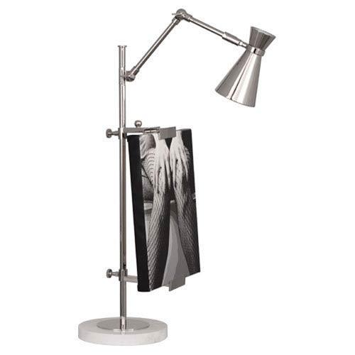 Jonathan Adler Bristol Polished Nickel and Carrara Marble One-Light Desk Lamp
