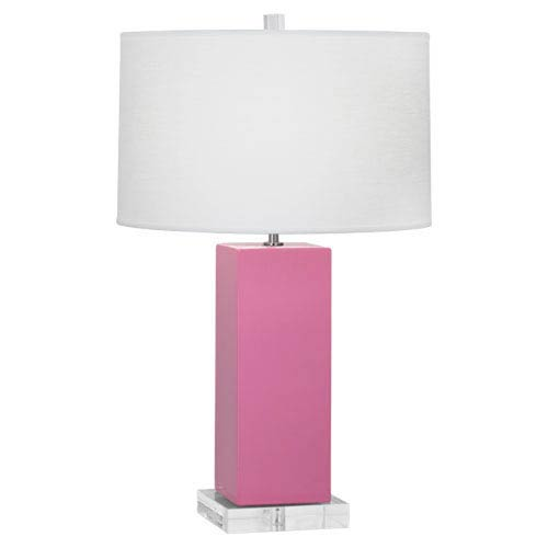 Harvey Schiaparelli Pink and Polished Nickel 33-Inch One-Light Table Lamp