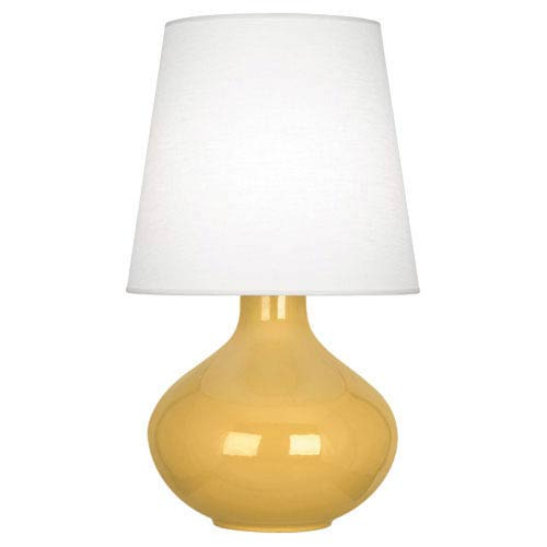 June Polished Nickel and Sunset One-Light Table Lamp with Oyster Linen Shade