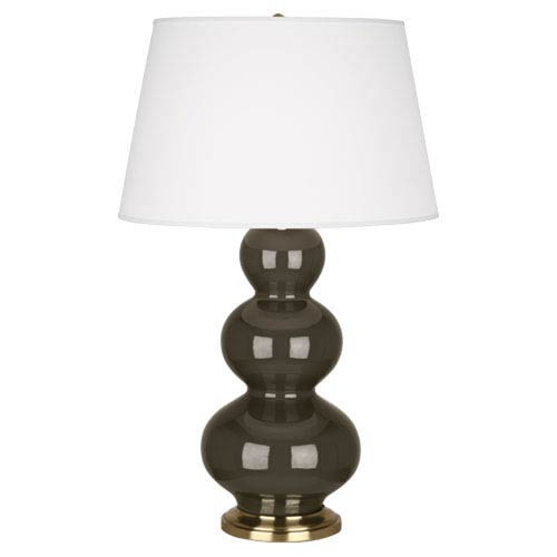 Triple Gourd Brown Tea Ceramic and Antique Brass One-Light Table Lamp