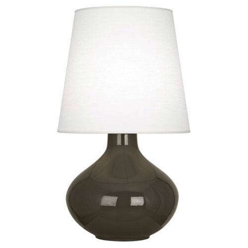 June Polished Nickel and Brown Tea One-Light Lamp with Oyster Linen Shade
