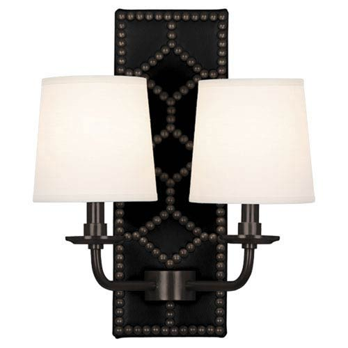 Williamsburg Lightfoot Deep Patina Bronze and Caruso Black Two-Light Sconce