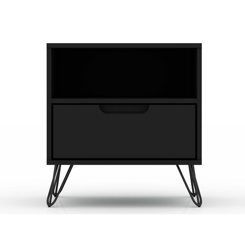 Rockefeller Black One-Drawer Nightstand