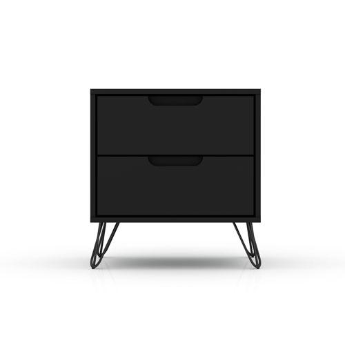 Rockefeller Black Two-Drawer Nightstand