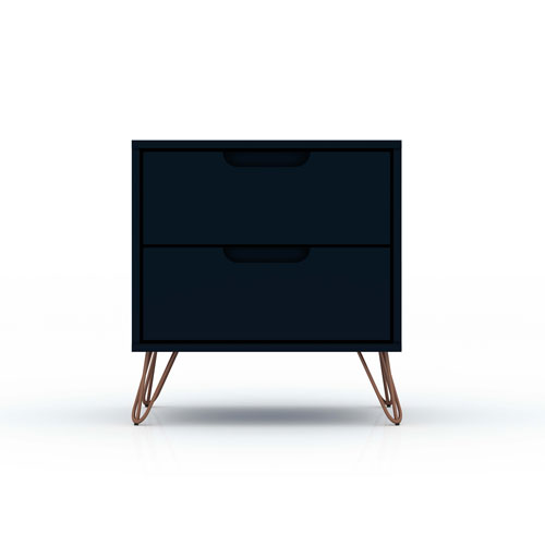 Rockefeller Blue Two-Drawer Nightstand