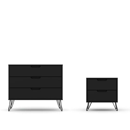 Rockefeller Black Dresser Nightstand, Set of 2