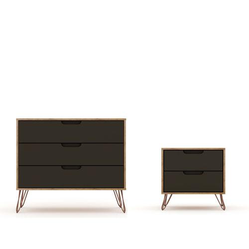 Rockefeller Grey Dresser Nightstand, Set of 2