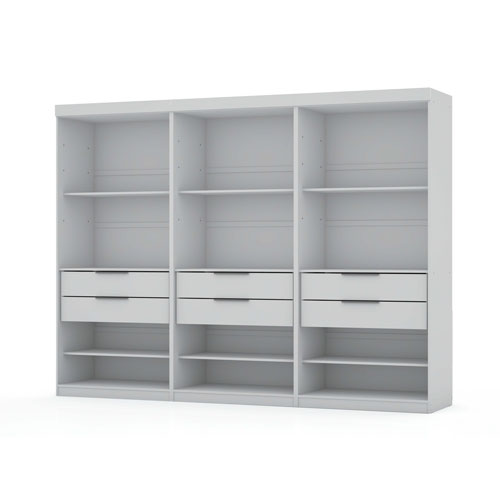 White Three Sectional Six Drawers Armoires