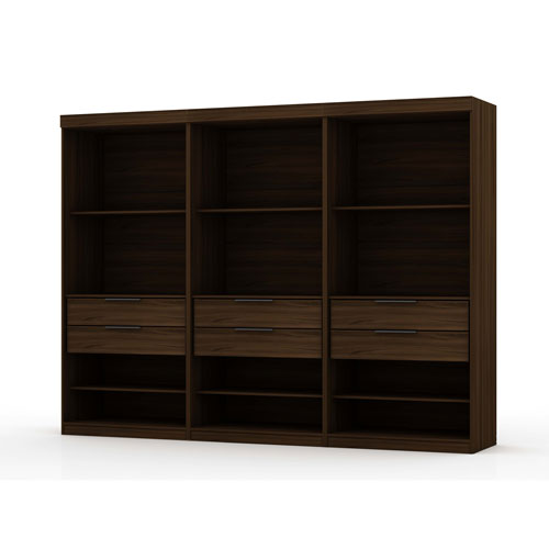 Brown Three Sectional Six Drawers Armoires