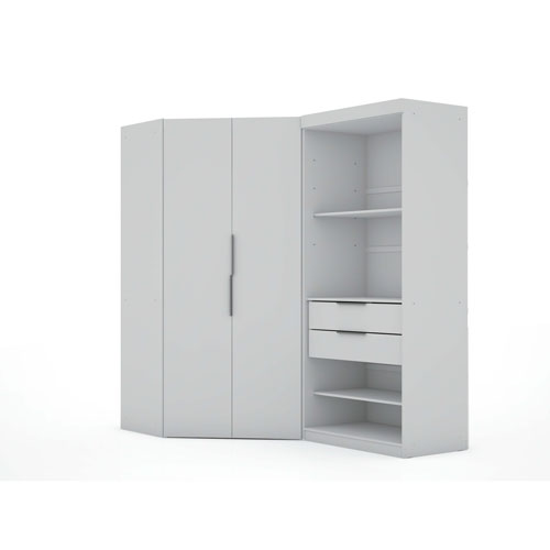 White Two Sectional Two Drawers Storage Armoires