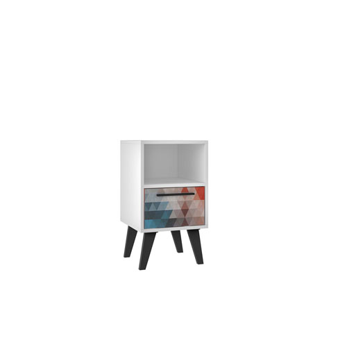 Multi Color Red and Blue 13-Inch Nightstand