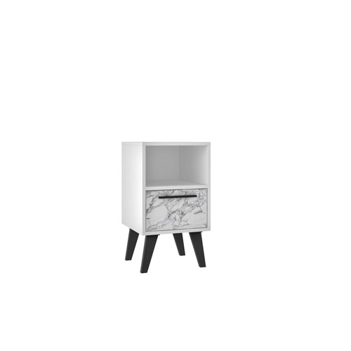 White Marble 13-Inch Nightstand