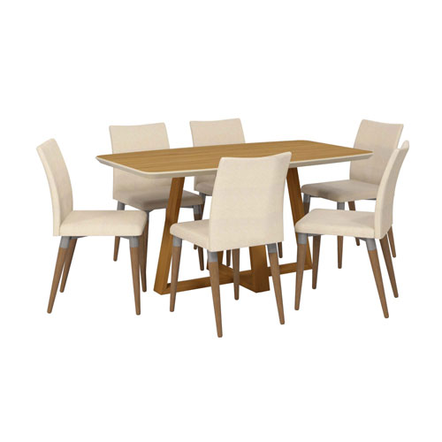 Duffy and Charles Off White and Dark Beige Rectangle Dining Table, Set of 7