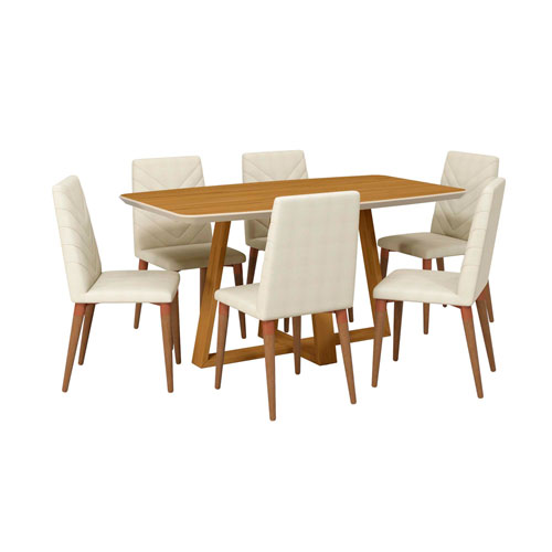 Duffy and Utopia Off White and Beige Rectangle Dining Table, Set of 7