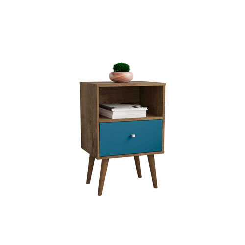 Liberty Rustic Brown and Aqua Blue 18-Inch One Drawer Nightstand