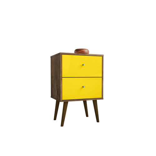 Liberty Rustic Brown and Yellow 18-Inch Two Full Extension Drawers Nightstand