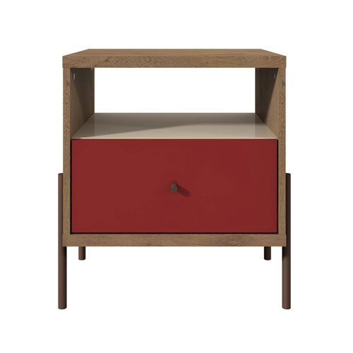 Manhattan Comfort Red, Off White, and Oak 20-Inch Nightstand