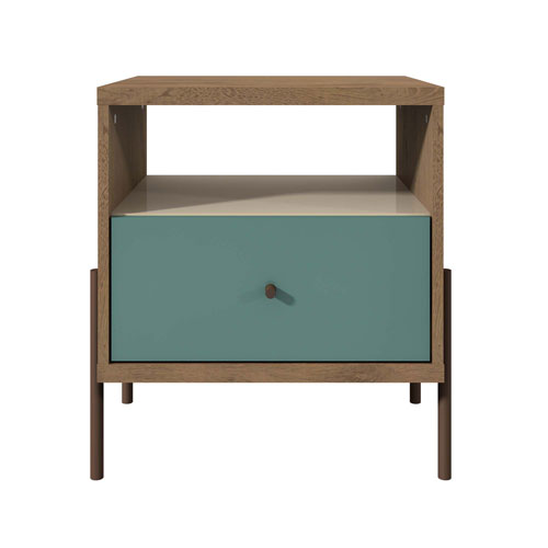 Blue, Off White, and Oak 20-Inch Nightstand
