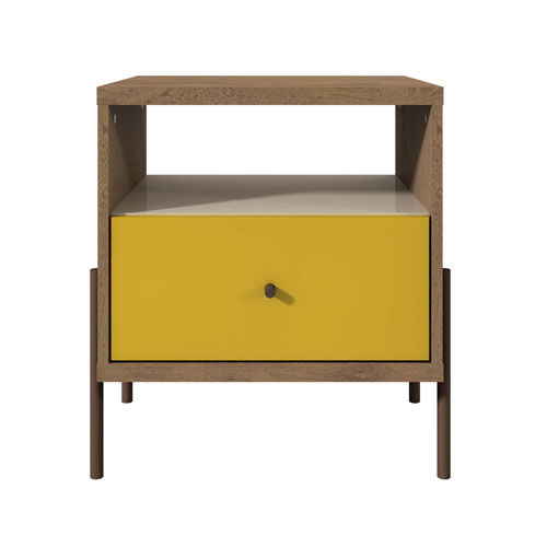 Yellow, Off White, and Oak 20-Inch Nightstand