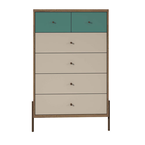 Blue, Off White, and Oak 31-Inch Chests
