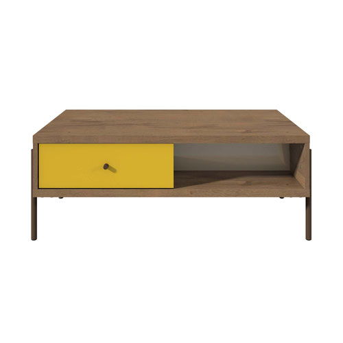 Yellow, Off White, and Oak 37-Inch End Table