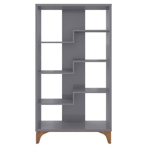 Gowanus Grey Four Shelves Display Bookcase Cabinet
