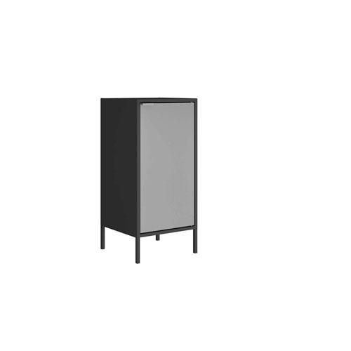 Manhattan Comfort Black and Grey 13-Inch Cabinet